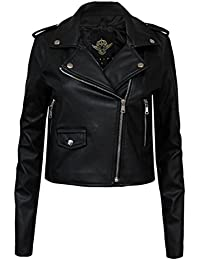CANDY FLOSS NEW LADIES WOMEN'S VINTAGE SLIM FIT BIKER STYLE ZIP PU LEATHER JACKET