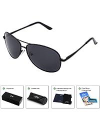 Aviator Sonnenbrille - Doppelte Brücke Metall Pilot Sonnenbrille Männer und Frauen Uv400 Linsen Aviator Sonnenbrille für Außen Sport, Fischen, Golfen und Fahren (Schwarz)