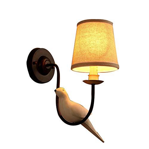 LED-Vogelwandleuchte Wohnzimmer Schlafzimmer Nachtwandleuchte europäische minimalistische Stoffschirmleuchte,1