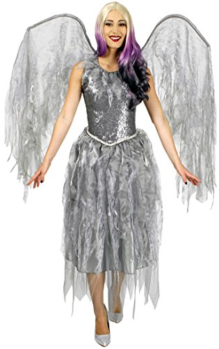 Todes-Engel / Barock-Engel in grau | Größe 40/42 | Halloween-Kostüm für Damen (40/42)