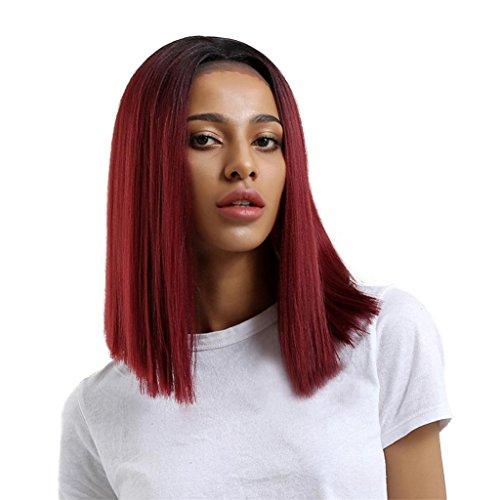 Longra Femmes Cheveux raides rouges Glueless Résistant Dentelle Vin Rouge Mode Naturel ondulés complet Curl Perruques Costume de fête Perruques Perruque naturel perruque Lace Front Wig (One size, Rouge)