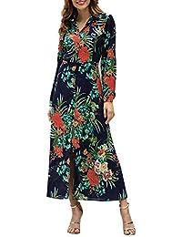5157bb672c90a Amazon.fr   robe fendue sur les cotes manche longue - Bleu   Vêtements