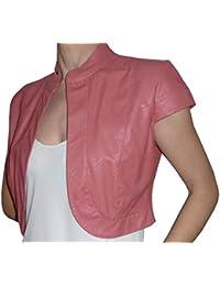 Bolero elegante corto de ceremonia de piel sintética y manga corta para mujer y niña