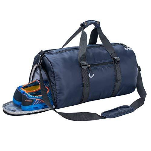 Gym Sports Duffle Bag mit Fach für Schuhe und wasserdicht Tasche Duffle Reisetasche Wochenende Tasche für Herren und Frauen, Unisex-Erwachsene (Nur Gepäck), Denim, One_Size -