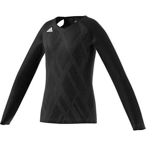 adidas Quickset Langarmtrikot, Unisex-Kinder Jungen, Quickset Long-Sleeve Jersey, Schwarz/Schwarz/Weiß, Medium