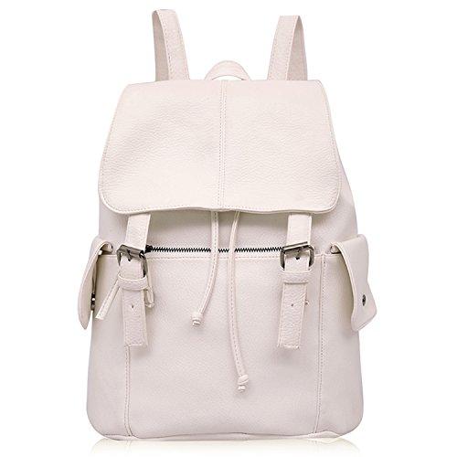 Outreo Zaino Donna Borse in Pelle da Studenti Borsa Scuola Università Zaini Vintage Backpack per Ragazza Multifunzione Borsa Cuoio PU Borsello Firmate Griffate Laptop Bag Bianco