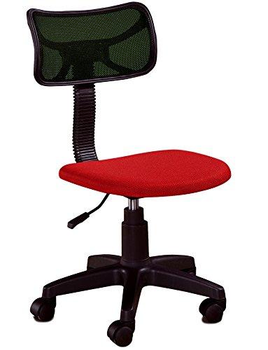 Chaise de Bureau tapissée avec du Tissu sans accoudoirs, Couleurs Rouge et Noire, 77-89 x 47 x 55 cm