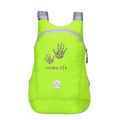 Pieghevole zaino in nylon, impermeabile per sport all' aperto, spazioso scuola escursionismo trekking campeggio viaggio borsa per bicicletta, Fluorescent Green Fluorescent Green