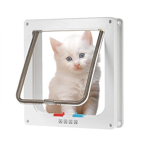4-Wege-Verschluss Katzenklappe Kleine Hunde Katzen Tür in & Out Sicher Pet Tür mit rutschsicher