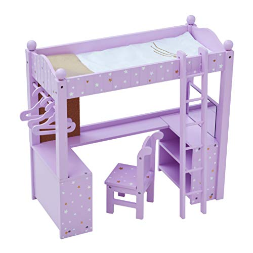 Olivia's Little World TD-0204AP Puppenbodenbett, Lilac/Gold -