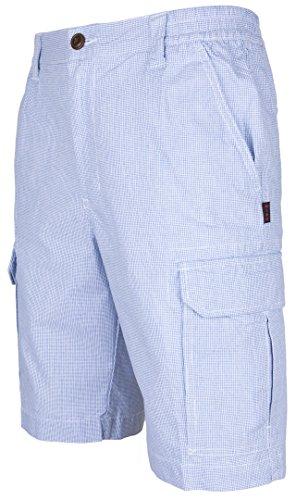 Blau Karierte Cargo-shorts (Herren Cargo Shorts Bermudas von SOUNON® - Kariert (Blau), Groesse: XL)