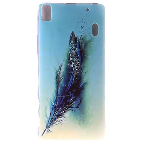 Pour Lenovo K3 Note / A7000 Coque,Ecoway Housse étui en TPU Silicone Shell Housse Coque étui Case Cover Cuir Etui Housse de Protection Coque Étui Lenovo K3 Note / A7000 –Blue Feather