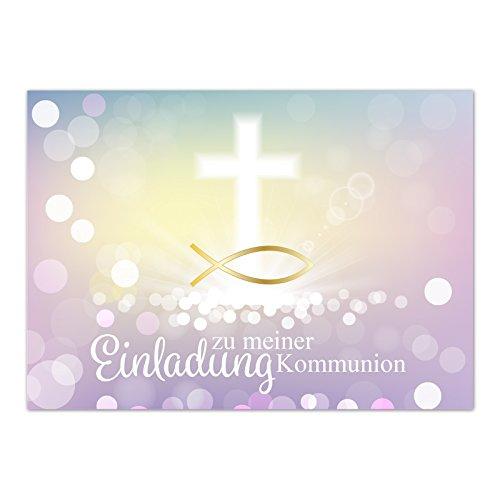 15 x Einladungskarten Kommunion mit Umschlag / Moderner Look mit Fisch Gold / Kommunionskarten / Einladungen zur Feier