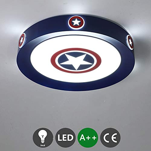 Luz de techo LED luz blanca fría lámpara de techo con signo de Capitán América iluminación para habitación de niños lámpara de dormitorio sala de estar lámpara de pared para pasillo 6000K,Ø52cm~36w