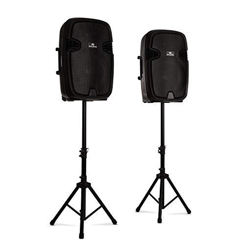"""Malone Combo 2 • PA-Lautsprecher Set • 2-Wege-Lautsprecher • Bluetooth • 15\"""" (38 cm) • aktiv und passiv • max. 800 Watt • inkl. 2 x Boxenständer • schwarz"""