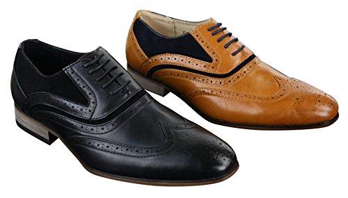 Chaussures homme cuir et daim style brogue vintage Gatsby marron bleu marine Marron