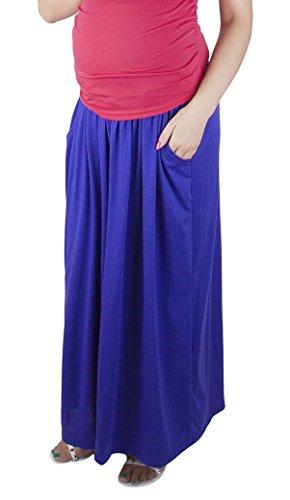 Mija - Confortable jupe de grossesse et de maternité Maxi longue 3048A Bleu