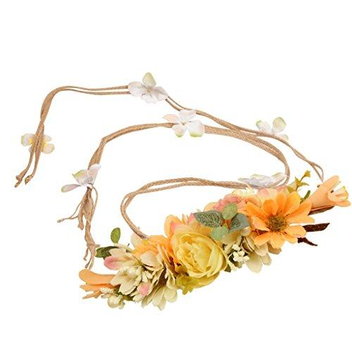 Gazechimp Bohemien Blumen Festival Hochzeit Girlande Kopfband Stirnband - Orange, 140cm