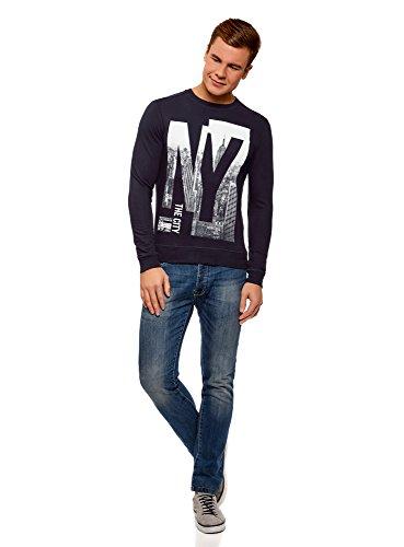 oodji Ultra Herren Baumwoll-Sweatshirt mit Aufdruck Blau (7910P)