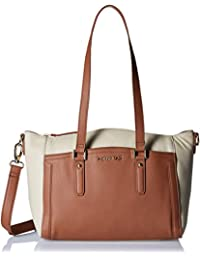 Aquatan Women's Two Toned Paradise Large Leather Tote Bag Cream and Brown AT-L-09