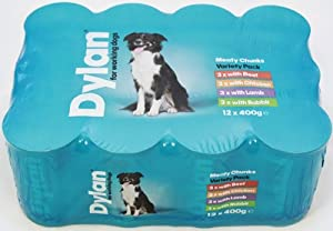 Dylan Variety Chunks in Jelly for Working Dogs 400 g (Pack of 12) by KENWN