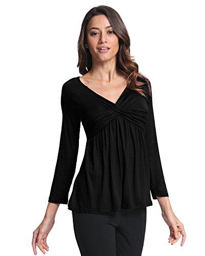 StyleDome Donna Camicetta Maglia Maglietta Manica Lunga Casual Elegante Cotone Sexy V-collo Nero IT 38