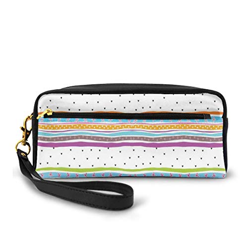 Pencil Case Pen Bag Pouch Stationary,Abstract Wavy Stripes Polkadots Ribbons Bows And Hearts Girly Patterned Artwork,Small Makeup Bag Coin Purse -