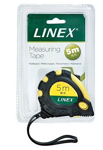 Linex 100411025 Bandmaß 5 m Robustes Profi Maßband mit stabiler Gürtelklemme und automatischem Aufrollsystem