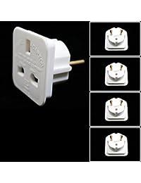 Skytronic–EU to UK Plug Adapter, White–Pack of 5