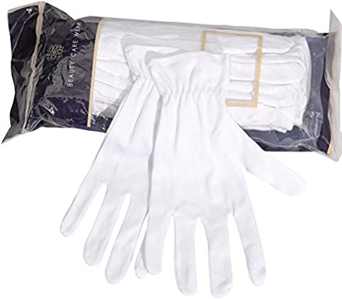 Beauty Care Wear Large White Cotton Gloves for Eczema, Dry Skin, & Moisturizing - 20 Gloves