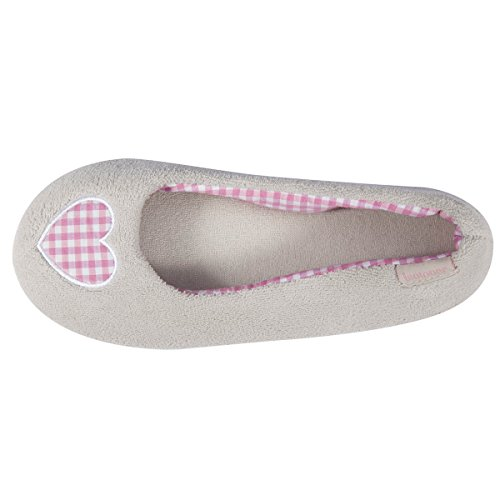 Isotoner Chaussons ballerines femme vichy Femme Gris clair