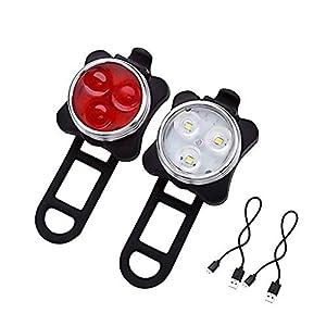 ANKKIRO 2 Stück LED Fahrradlicht Set USB Aufladbar Wasserdicht Fahrradlampe Set Super Helle LED Vorne und Hinten Fahrradbeleuchtung für Fahrrad, Mountainbike, eBike, Rennrad,Radfahren,Wandern,Laufen,Walking,Camping