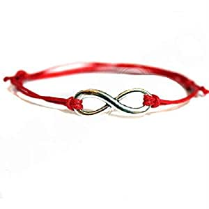 Facioyo Exclusive-Hippy ANTIQUE SILVER Infinity Friendship Karma Wish Hope Love Peace Bracelet Cord Boho [RED] with Gift Card