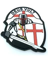Crusader 'Deus Vult' Caballeros templarios PVC moral parche