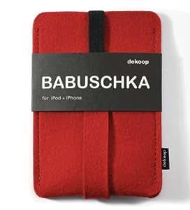 BABUSCHKA Handytasche für Iphone 1-4, reiner Wollfilz, rot, dekoop