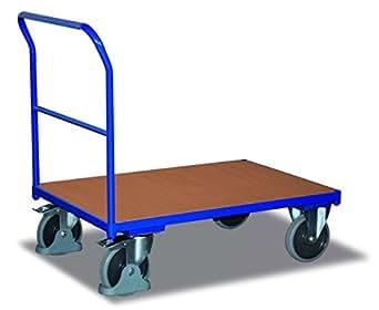 Cordes Schiebebügelwagen mit Holzwand, Ladefläche LxB 1030x700mm, Außenmaße LxBxH 1125x700x1006 mm, Traglast 500 kg, 2 Lenk-, 2 Bockrollen