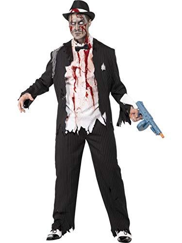 Zombie Herren Gangster Kostüm - Karnevalsbud - Herren Männer Kostüm blutiger Horror Zombie Mafiosi Gangster, perfekt für Halloween Karneval und Fasching, M, Schwarz