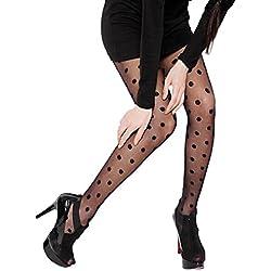 Calcetines, Feixiang & # x2648; De la Mujer Sheer encaje diseño de lunares medias medias medias calcetines de lunares