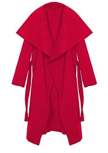 Kendindza Damen Mantel Trenchcoat mit Gürtel OneSize Lang und Kurz (One Size, Rot Lang) - Mantel Damen Kurz Wolle Jacke