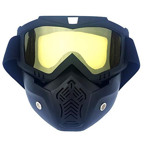 M.J.ZUR Skibrillen Snowboardbrillen Motorradbrillen mit Maske Airsoft Schutzbrillen Maske (Color : Gelb, Size : One Size) (Ski-helme Brennen)