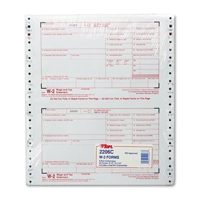 TOPS Products - TOPS - W-2 Tax Form, 6-Part Carbonless, 24 Forms - Sold As  1 Pack - Updated each year to meet IRS regulations  - For employers to