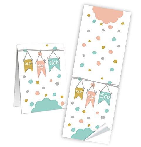 25 Stück Aufkleber rose weiß pastell-farben NUR FÜR DICH Sticker 5 x 14,8 cm Verpackung Papiertüten Geschenktüten zukleben Deko Geschenkaufkleber Geschenke verpacken Etiketten selbstklebend basteln -