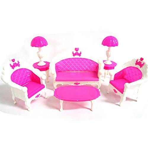 Preisvergleich Produktbild CreaTion Spielzeug Puppenhaus Möbel-Wohnzimmer Grand Parlor Sofa Set (Pink)