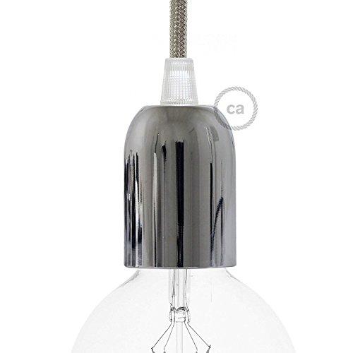 Bicchierino cromato + portalampada E27 + 1 Serracavo Trasparente