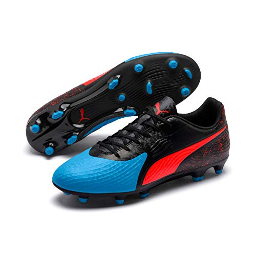Puma Herren ONE 19.4 FG/AG Fußballschuhe, Blau (Bleu Azur-Red Blast Black), 42 EU
