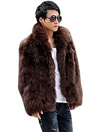 Zicac Männer Winter Warm Langarm Künstliche Pelzmantel Jacke Haken & Augen Geschlossen Luxus Mantel