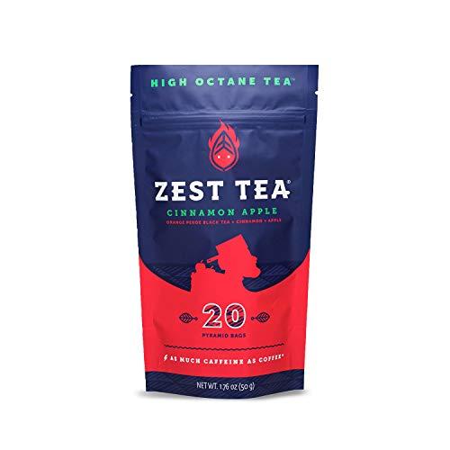 Zest Tea Té Energético Premium, Alternativa Tradicional Natural y Saludable Alta en Cafeína al Café Negro, 150 mg de Cafeína por Porción, Té Negro Sabor Manzana y Canela, Bolsa con 20 Bolsitas