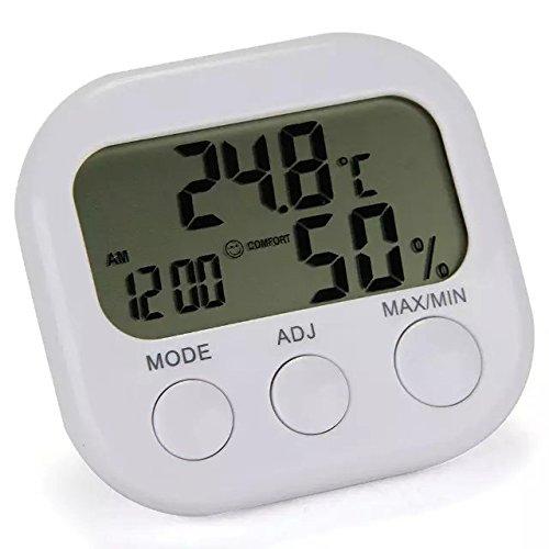 Goliton? LCD Digital Hygrometer Feuchtigkeit Thermometer Temperatur Messinstrument Lehre mit Uhr - Wei?