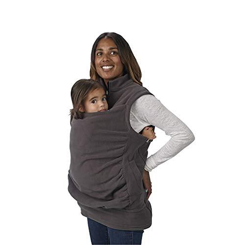 HWJK Baby Carrier Sweatshirt, Multifunktions 3 In 1 Frauen Mutterschaft Sleeveless Weste Fleece Känguru Tasche Mantel Jacke Für Schwangere Baby Wearing Baby Halter,Gray,XL