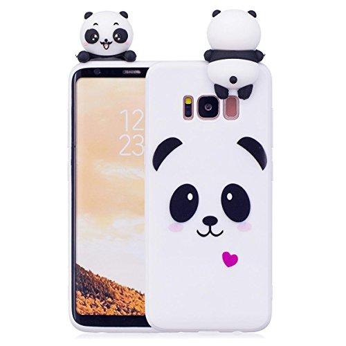 Samsung S8 Hülle, Samsung Galaxy S8 Schutzhülle, 3D Panda - Weiß Muster Design Handy Hülle für Samsung Galaxy S8, Ultra Dünn TPU Weich Silikon Handycover Schale Schutzhülle Ultradünnen -